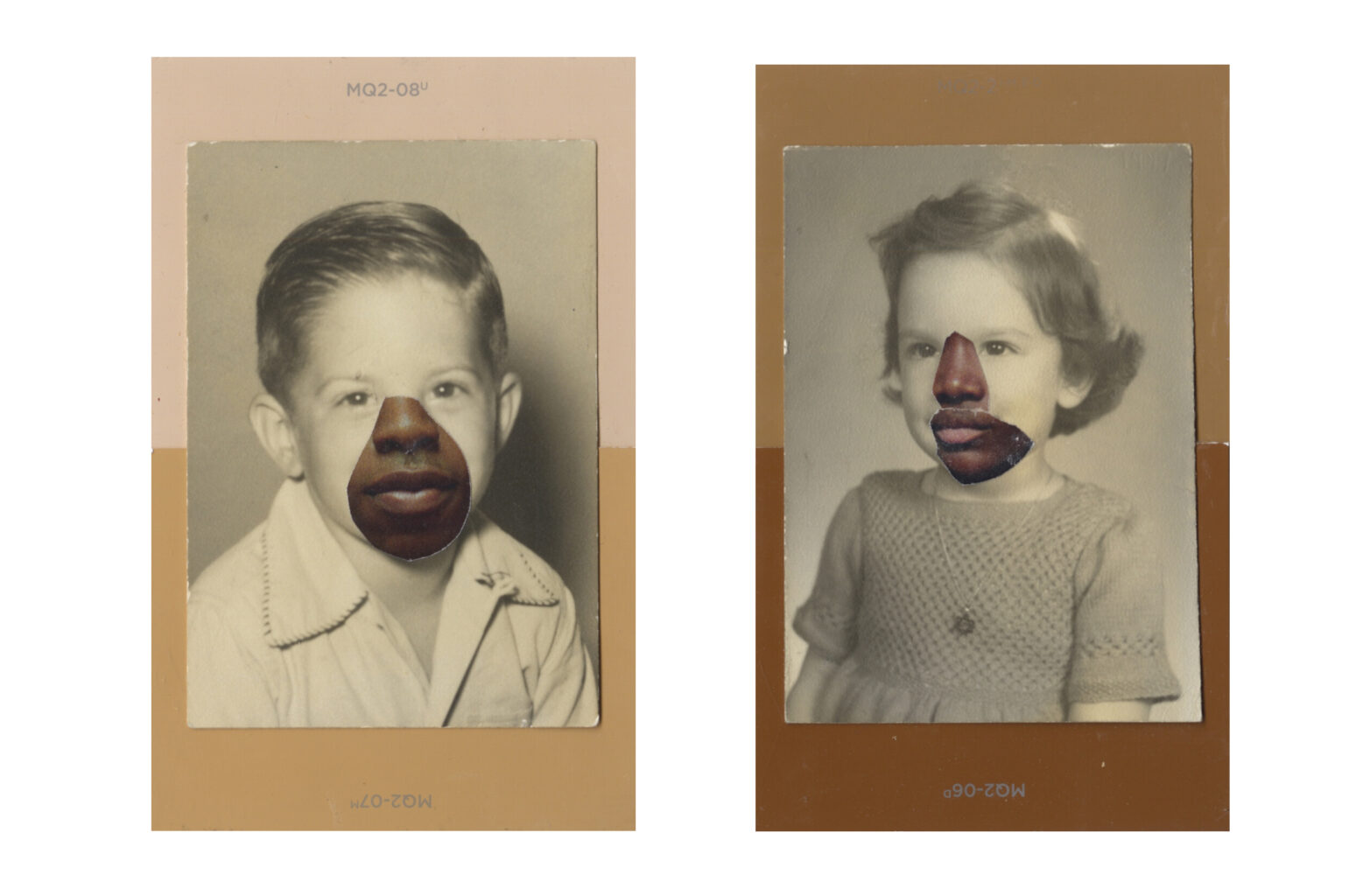 Two collages depicting three layers. The bottom layer are brown paint sample cards, similar to dark skin tones. The second layer features a black and white photo of a small child posing for a portrait, the left is a young white boy, the right is a young white girl. The photos are aged and look to be fromthe 1960s. Pasted on top of the boys and girls nose and mouth are the nose and mouth from adults with Black skin.