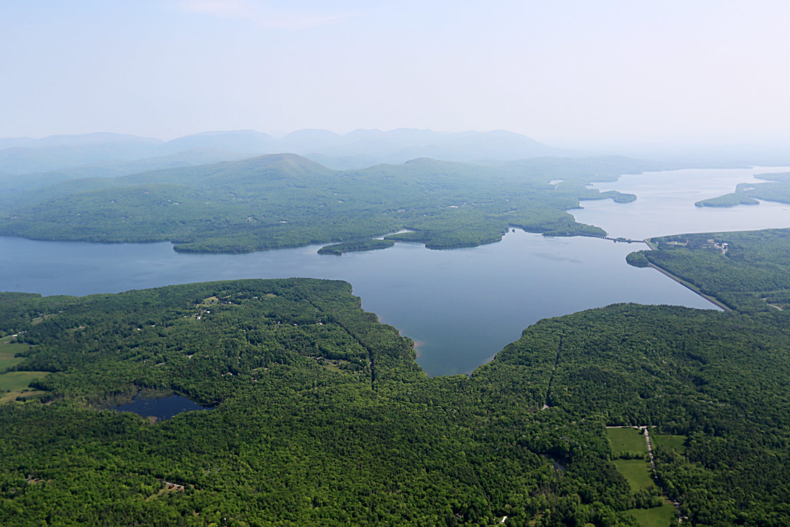 A birds-eye view of the Ashokan Reservoir in New York State